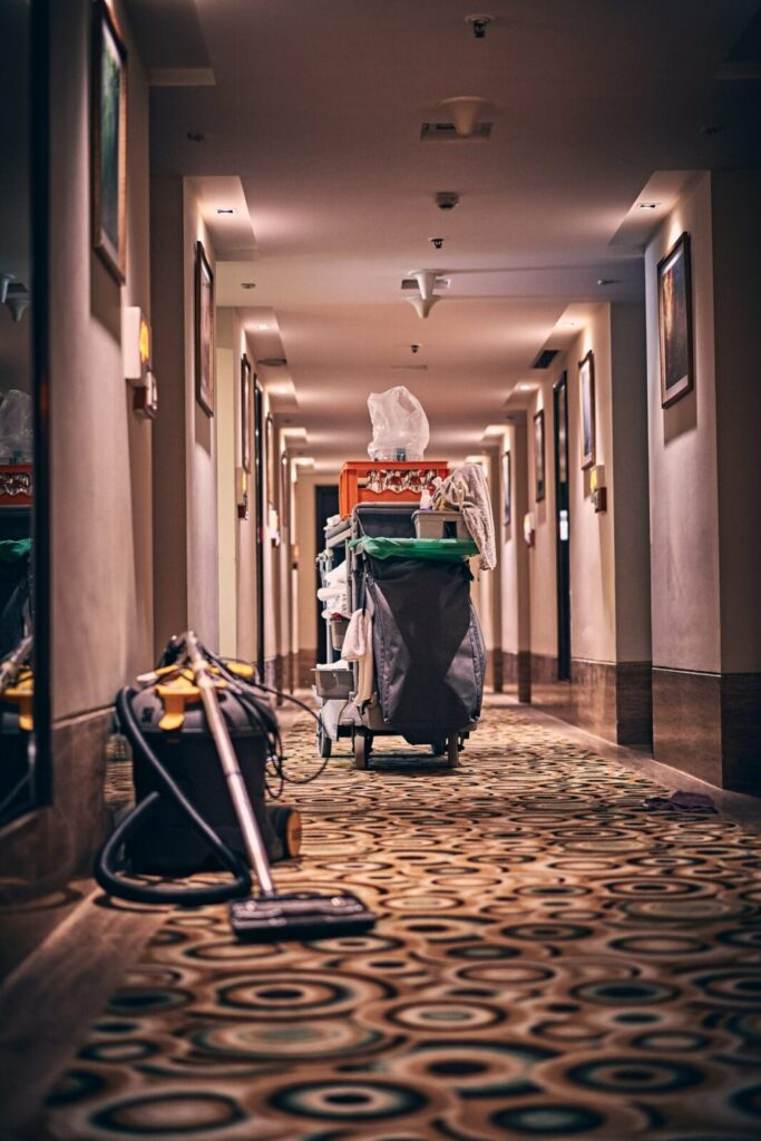 cleaning a hotel hall