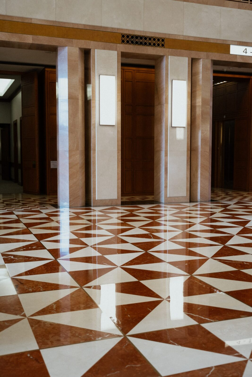 waxed white and brown floors