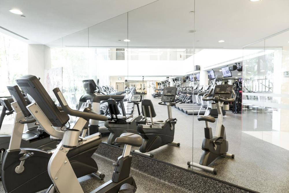 Clean mirror and treadmills in a gym